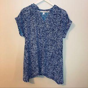 NWT Dressbarn Blue & White Top   M